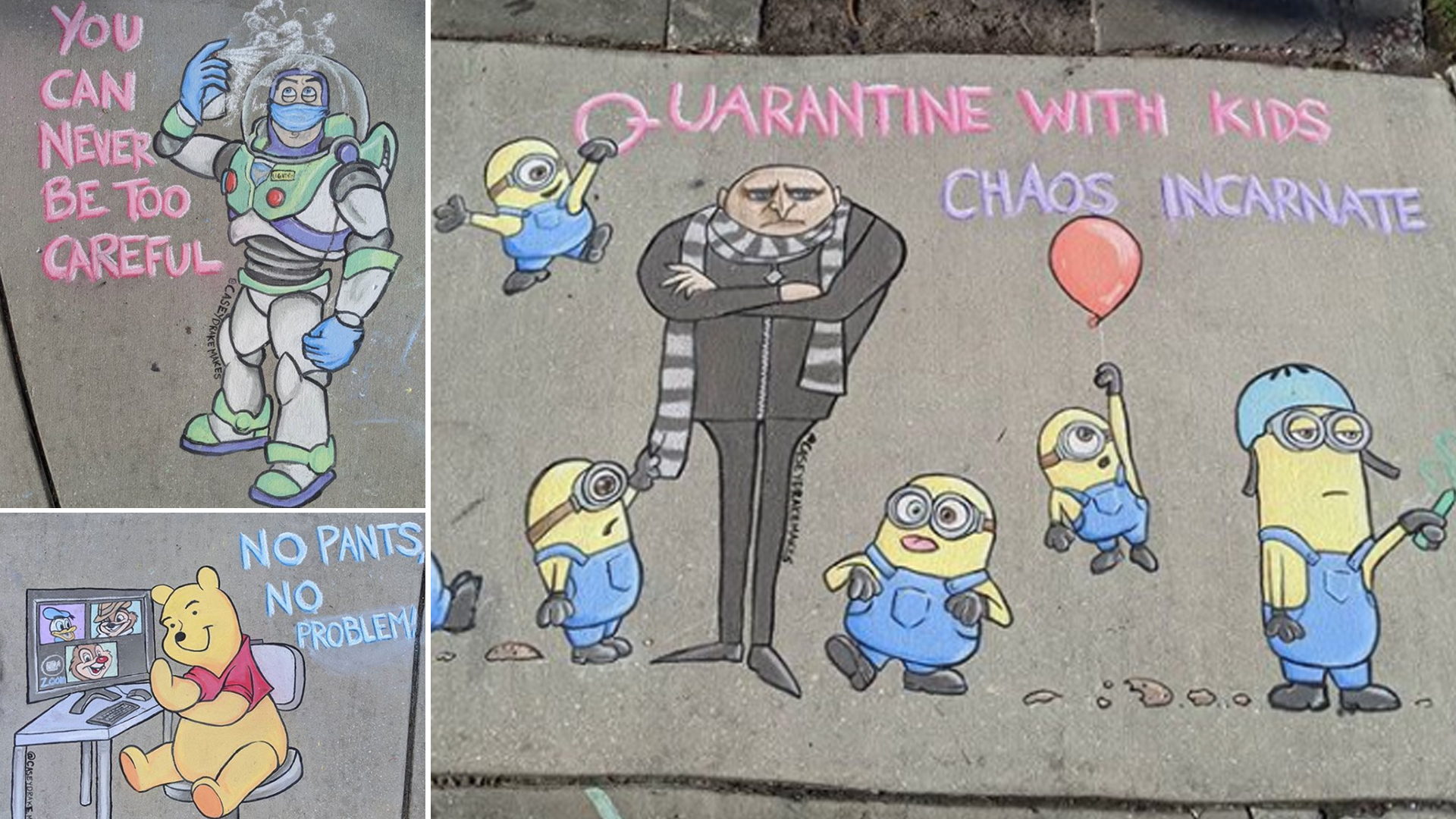 Chalk drawings on the sidewalk.