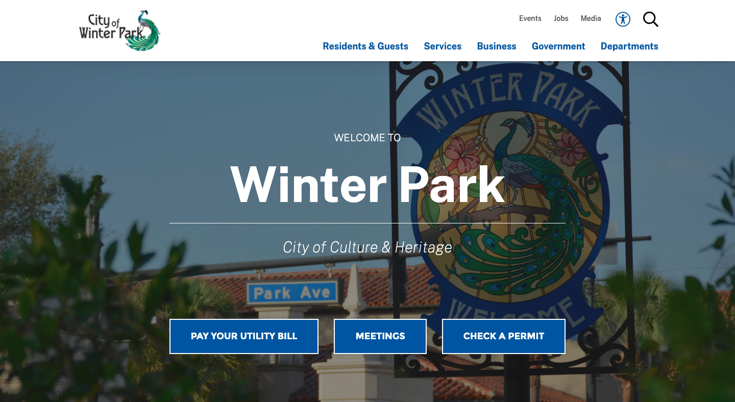 Redesigned City of Winter Park home page.
