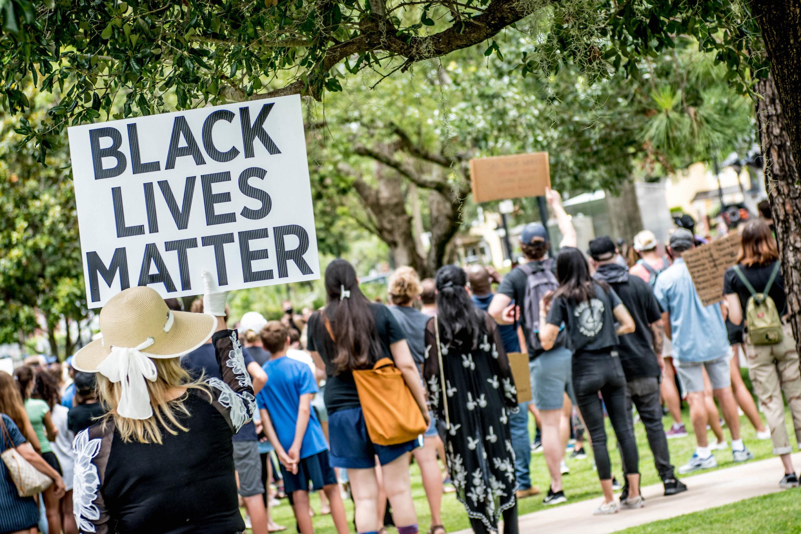 Black Lives Matter protestors hold up signs in Central Park.