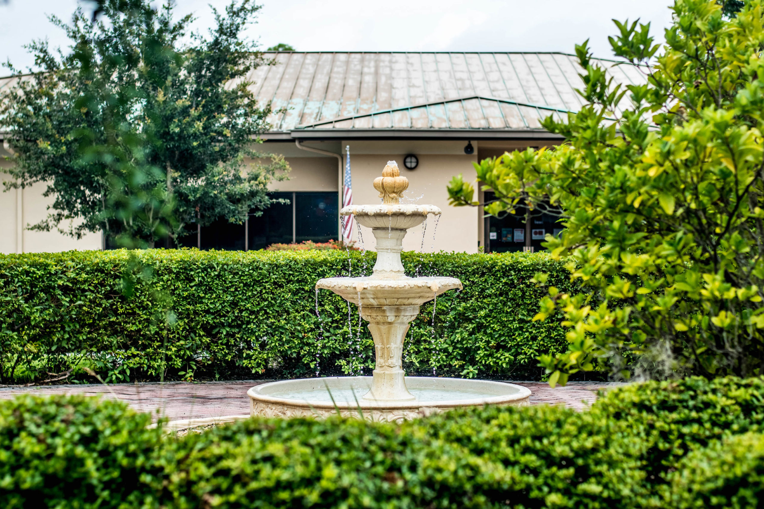 Fountain in an outdoor area of The Gardens at DePugh Nursing Center.