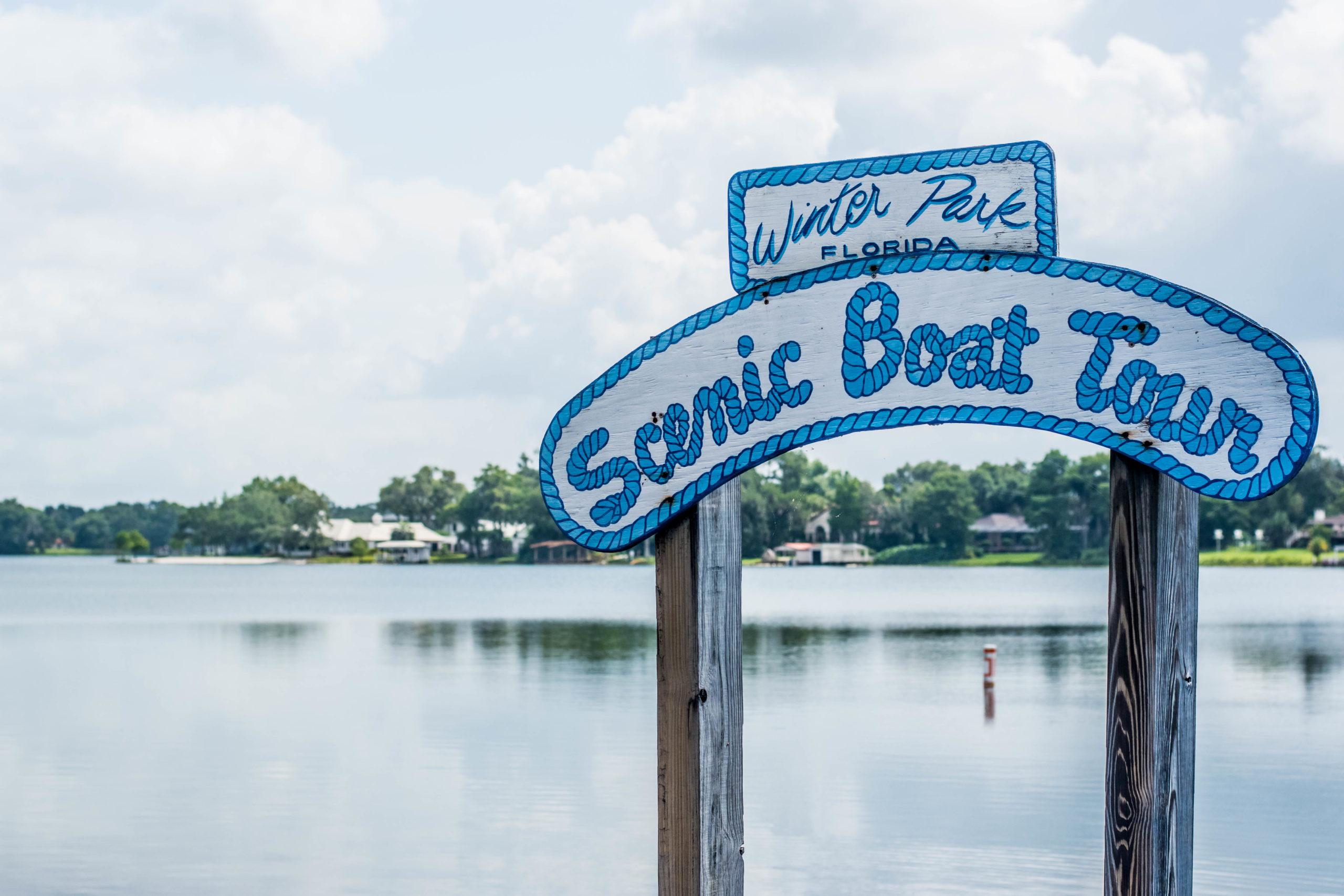 Winter Park Scenic Boat Tour sign.