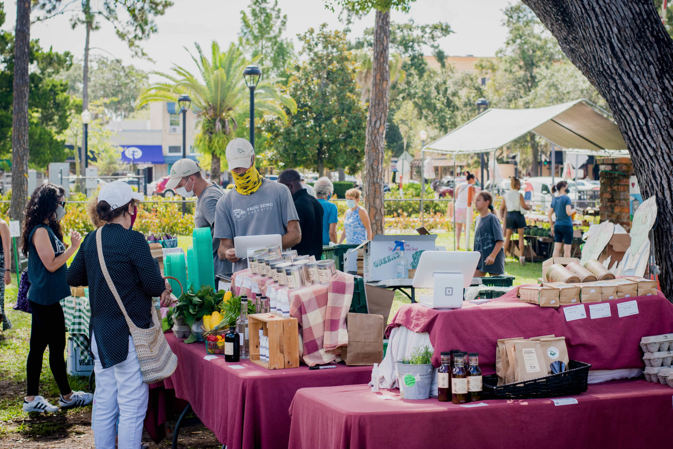 People gather at the Frog Song Organics stand at the Winter Park Farmer's Market.