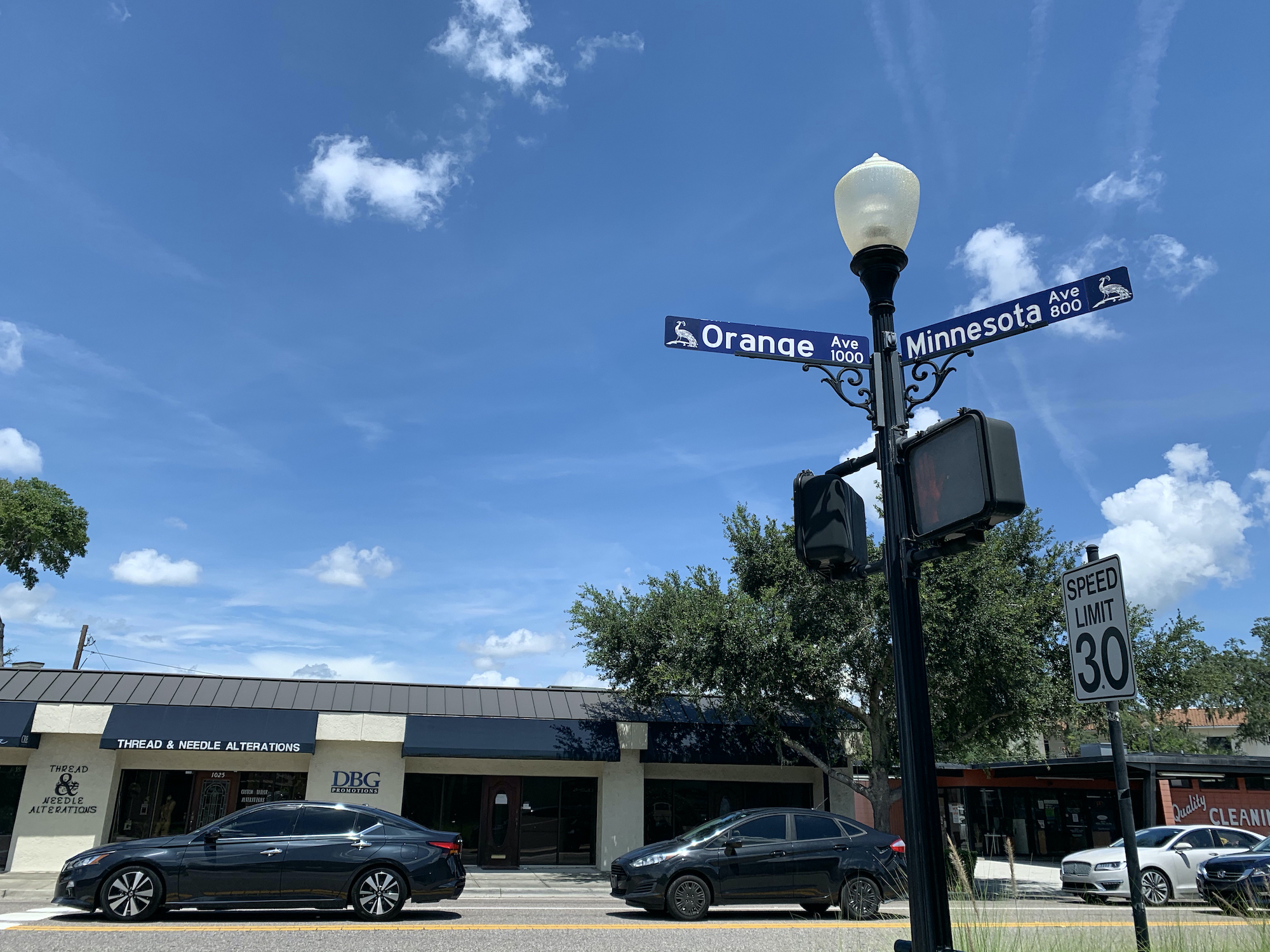 The intersection at Orange and Minnesota Avenues in Winter Park, Fla.
