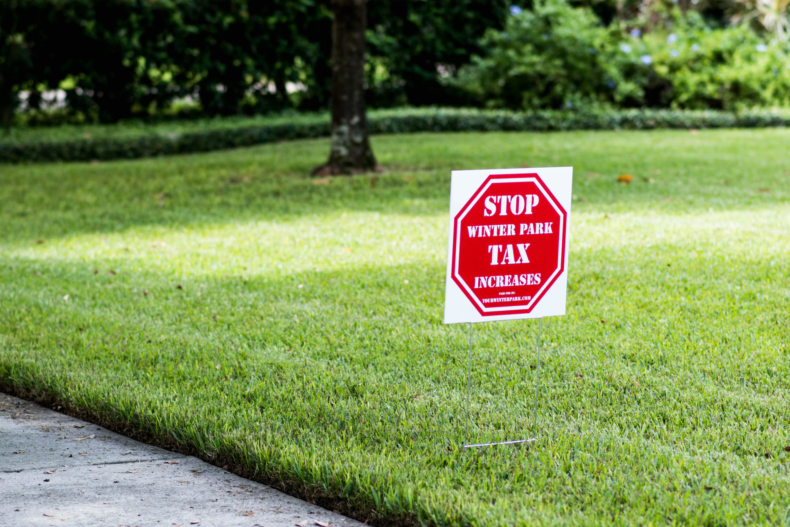 Anti tax increase yard sign on a lawn in Winter Park, Fla.