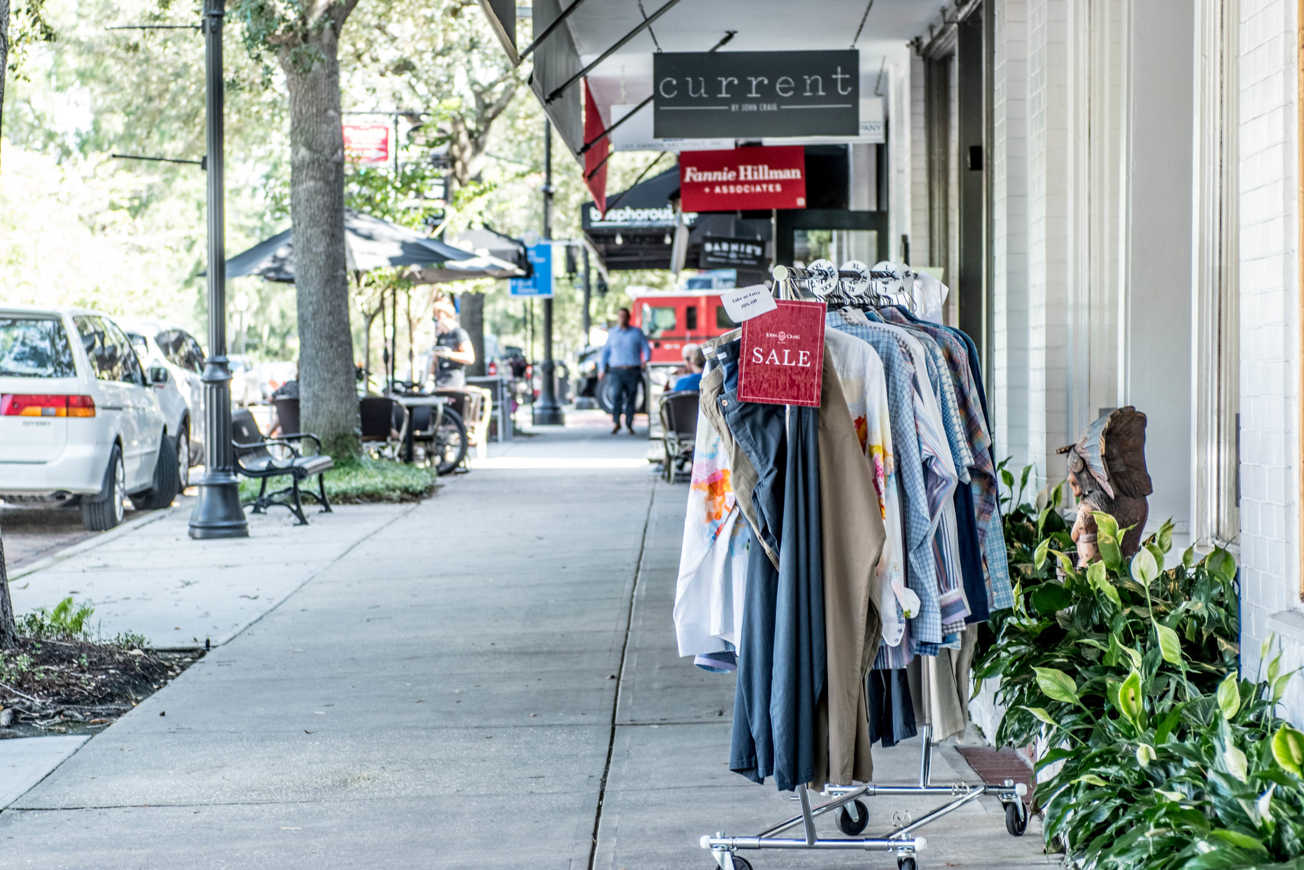 Sidewalk Sale on Park Avenue in Winter Park, Fla.