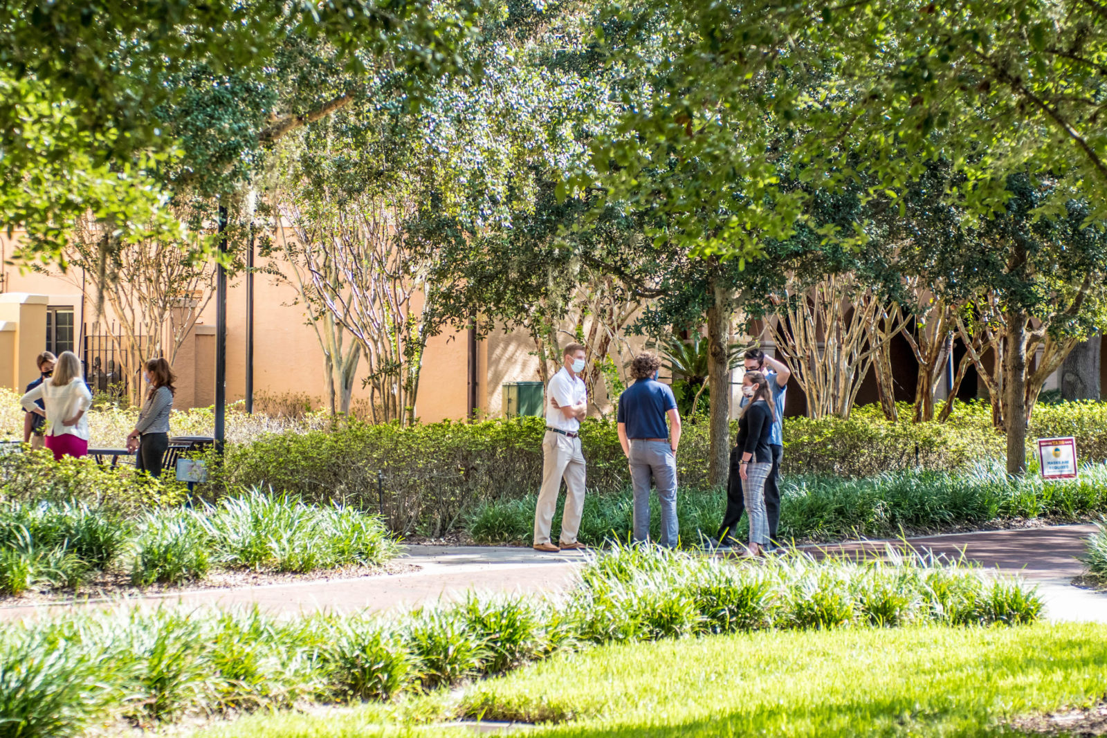Students gather in small group at Rollins College.