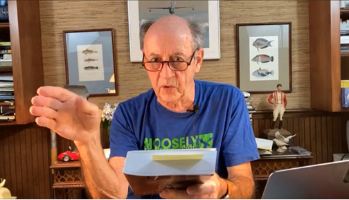 Billy Collins reads to a virtual audience on a Facebook Live broadcast.