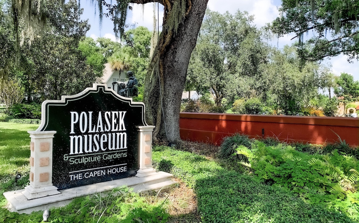 Welcome sign outside the Albin Polasek Museum in Winter Park, Florida.