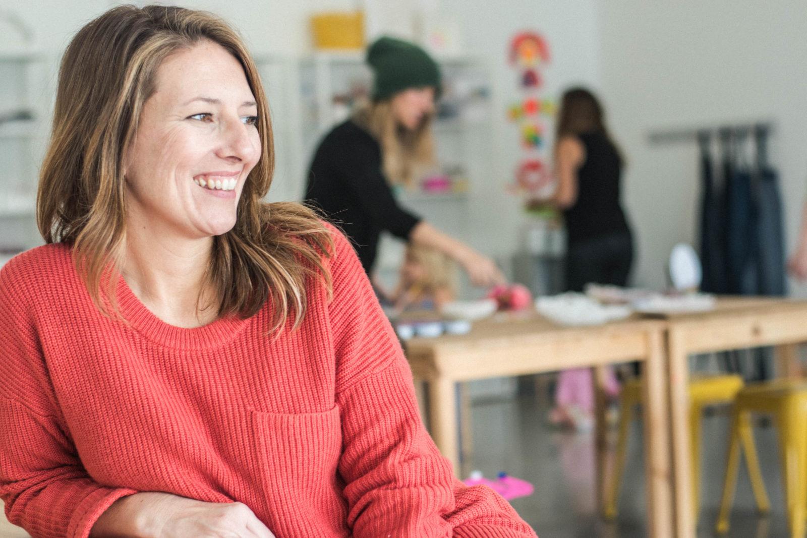 Becky Vlaming of Creative Jane Art Studio is photographed in her studio.