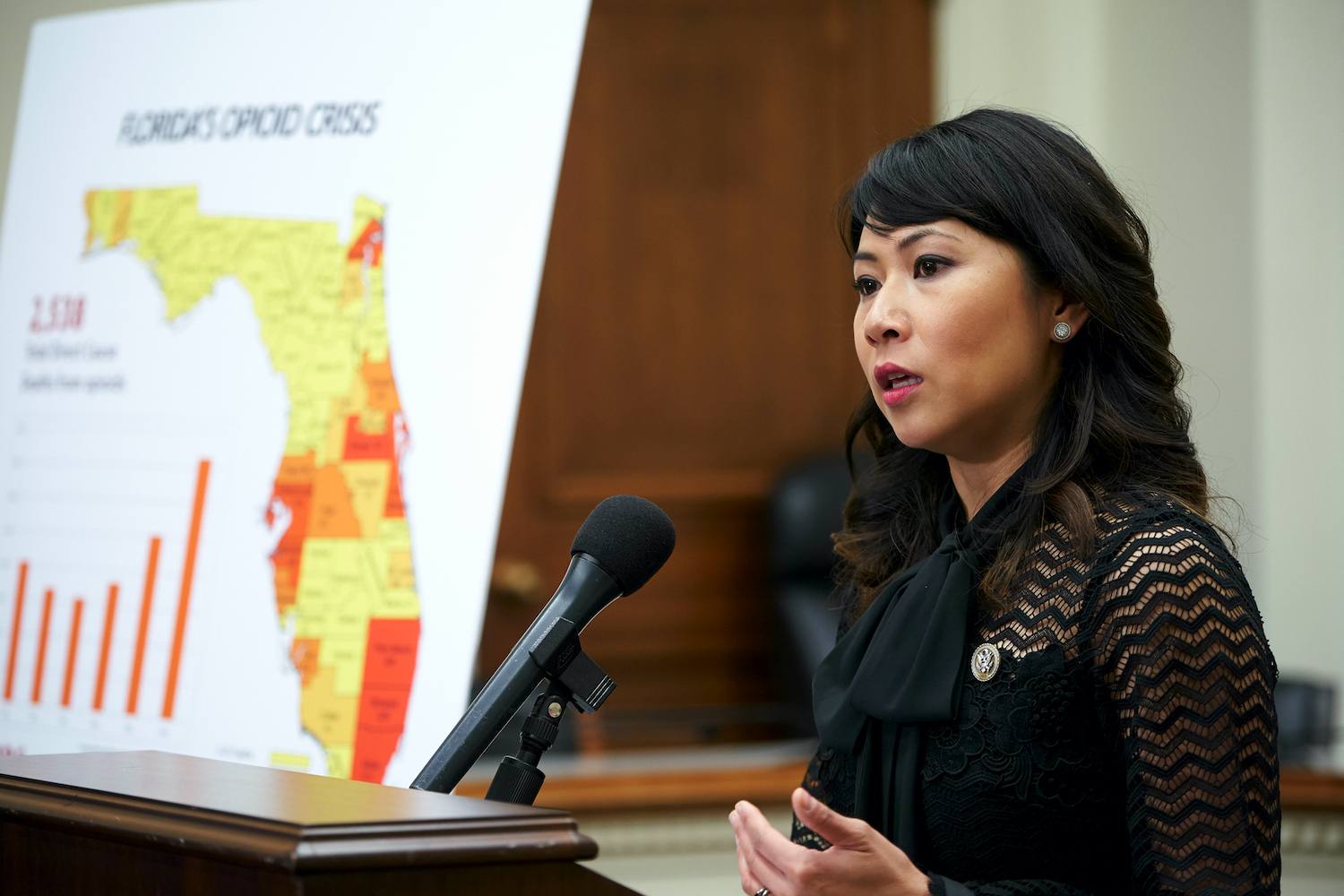 Rep. Stephanie Murphy delivers a speech with a poster of the state of Florida in the background.