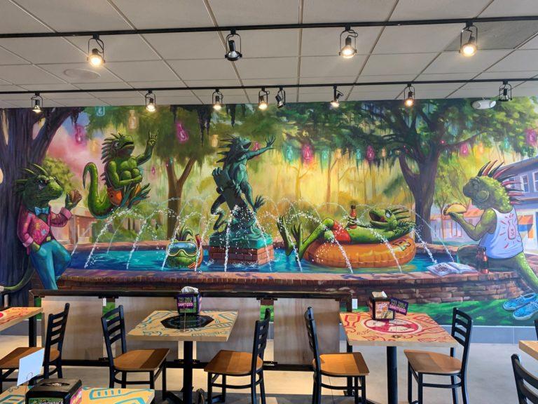 Winter Park fountain mural in Tijuana Flats Aloma store.