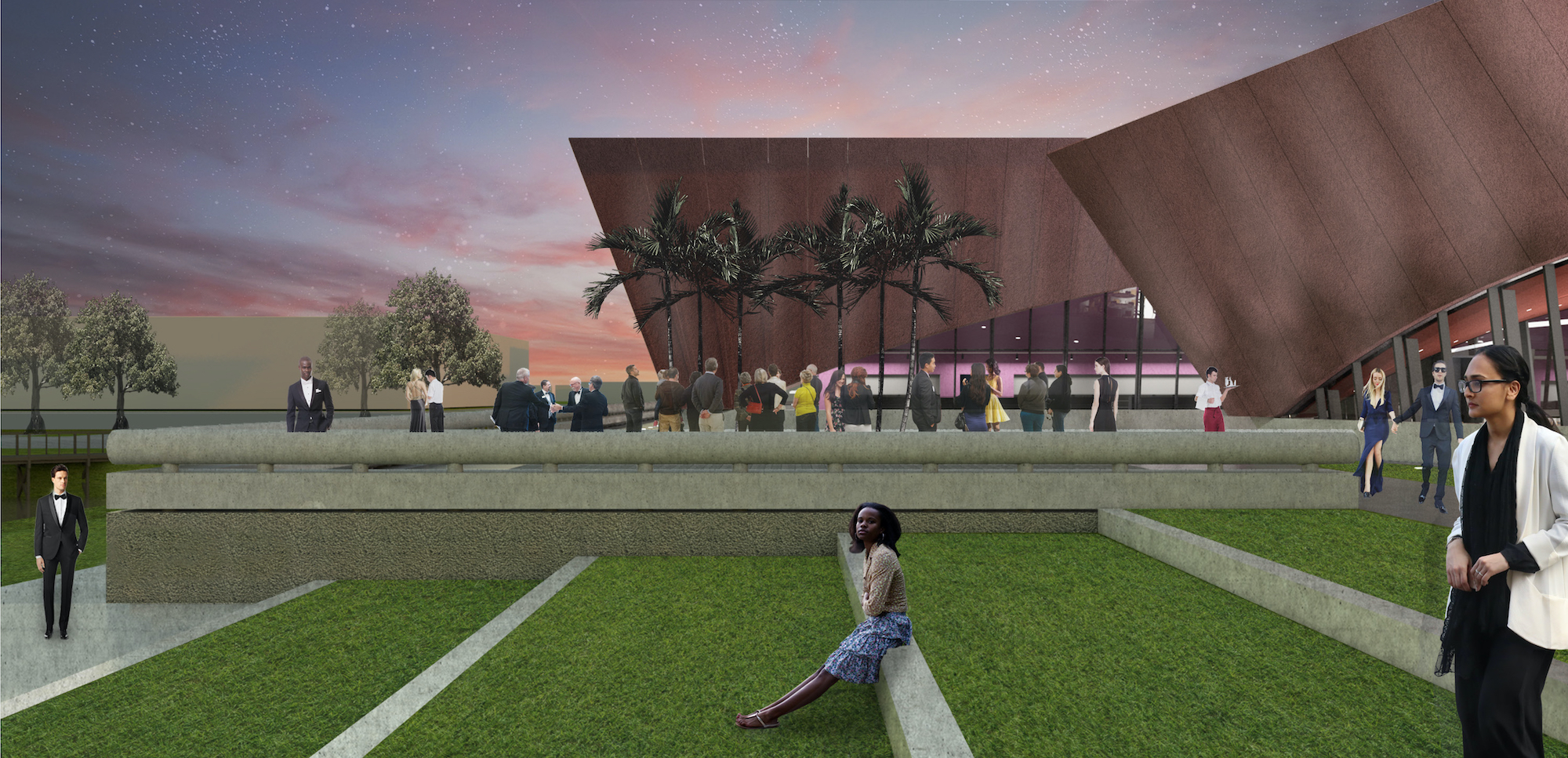Rendering shows a mock-up of the new WInter Park Events Center with dark down and red brick and a green space with people.