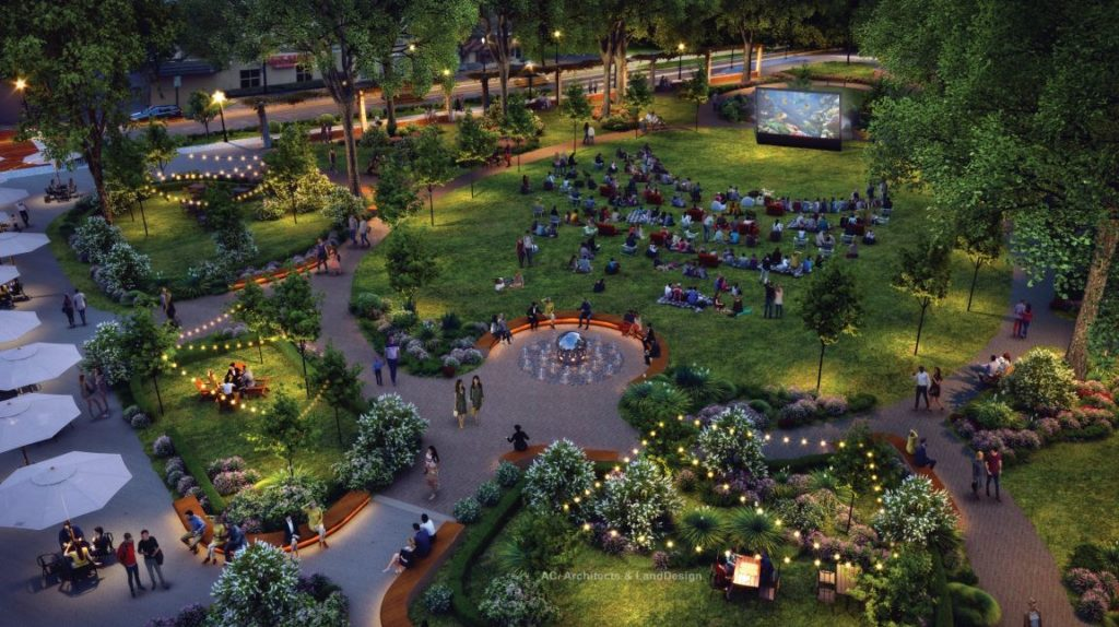 Renderings show green space with tables for eating and string lights