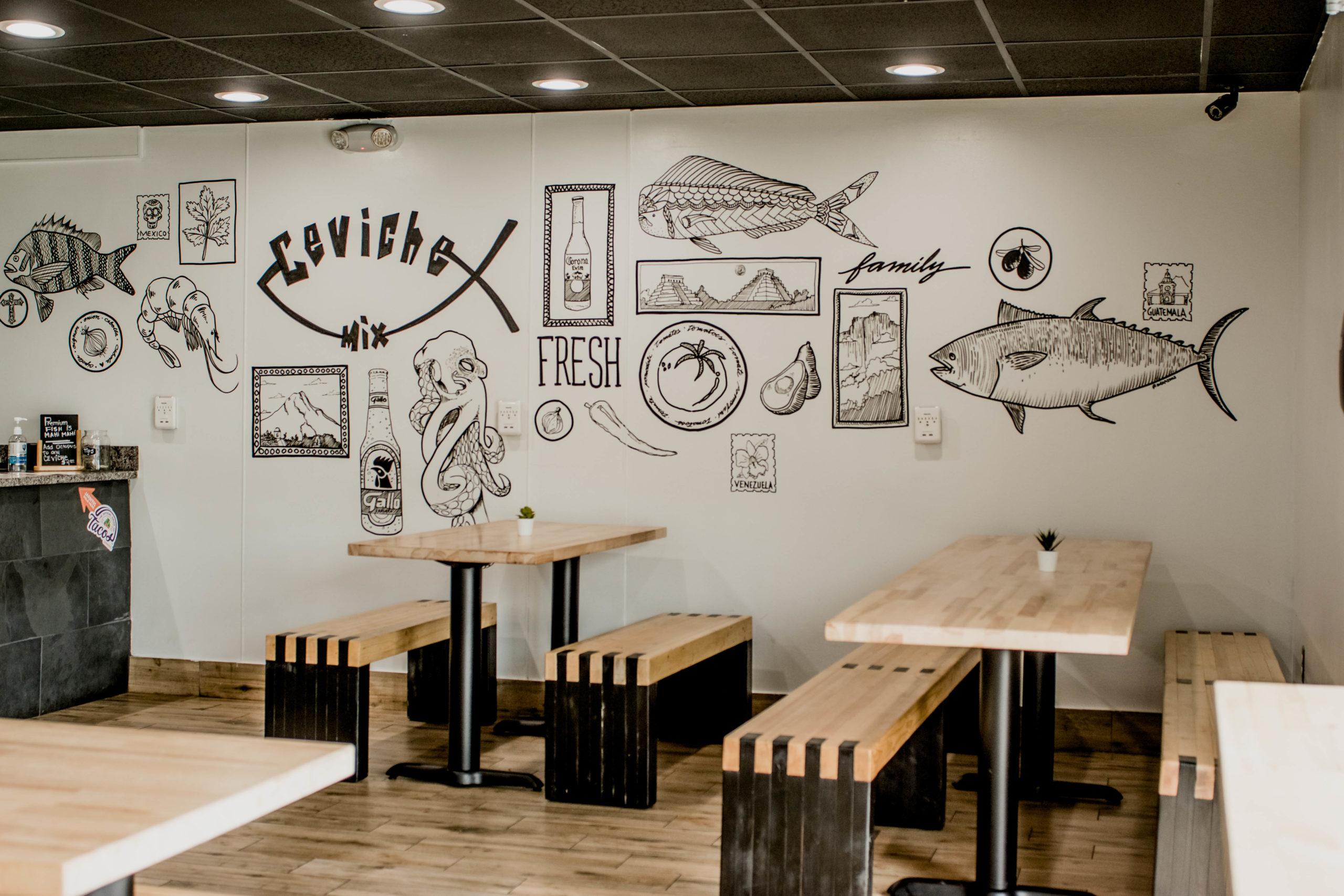 Interior mural at Ceviche Mix Winter Park.
